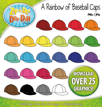A Rainbow of Baseball Caps / Hats Clipart — Over 25 Graphics!