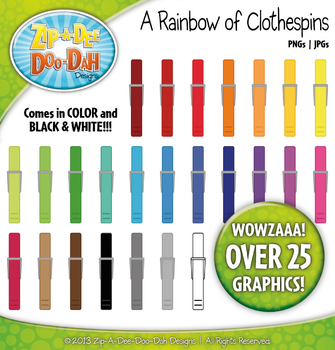 A Rainbow of Clothespins Clipart — Over 25 Graphics!