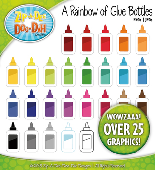 A Rainbow of Glue Bottles Clipart — Over 25 Graphics!