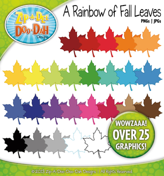 A Rainbow of Harvest Fall Leaves Clipart — Over 25 Graphics!