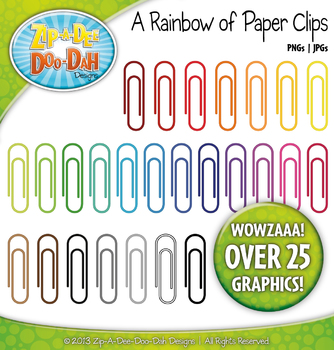 A Rainbow of Paper Clips Clipart — Over 25 Graphics!