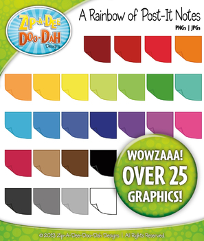 A Rainbow of Post-It Sticky Notes Clipart — Over 25 Graphics!