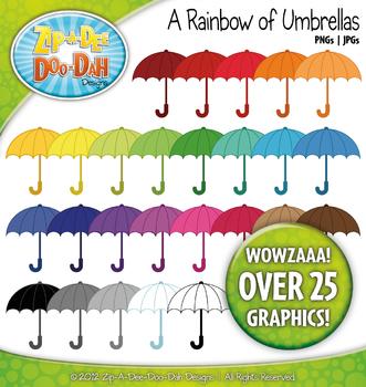 A Rainbow of Umbrellas Clipart — Over 25 Graphics!