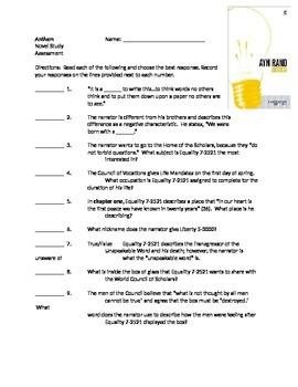 A. Rand's Anthem (Novel Study Assessment)