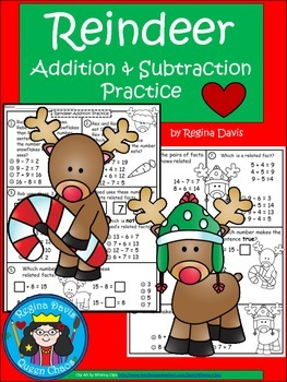 A+  Reindeer: Addition and Subtraction Practice