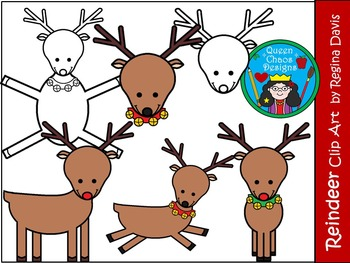 A+ Reindeer  Christmas Clip Art...Color And Black And Whit