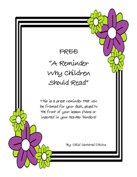 FREE A Reminder Why Children Should Read Quote - Purple an