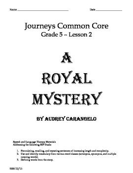 Journeys Common Core 5th - A Royal Mystery Supplemental Pa
