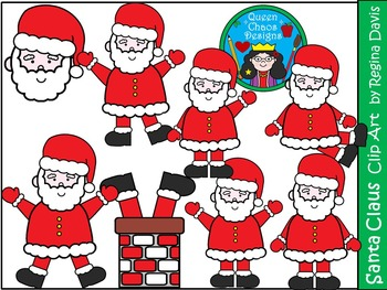 A+ Santa Claus Christmas Clip Art...Color And Black And Wh