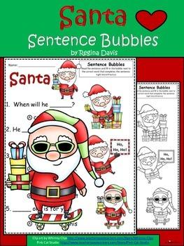 A+ Santa: Fill In the Blank.Multiple Choice Sight Word Sentences