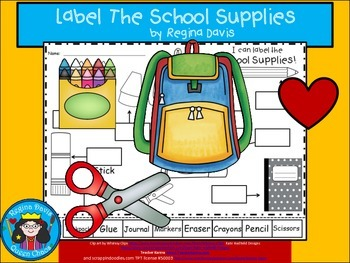 A+ School Supplies Labels...Labeling Activity For Back To School