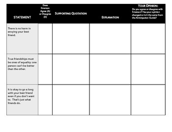 A Separate Peace Emerson PreReading Anticipation Chart