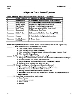A Separate Peace- Test and Answer Key