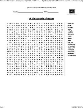 A Separate Peace- Word Search
