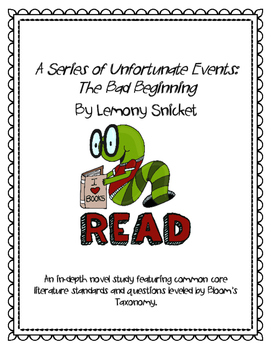 A Series of Unfortunate Events The Bad Beginning Novel Study