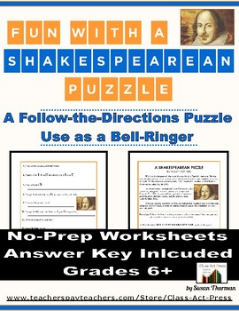 Shakespearean Puzzle (Follow-the-Directions Puzzle Centere