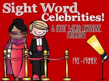 A Sight Word Incentive Program-Dolch Pre-Primer words-Movi