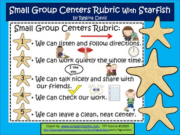 A+  Small Group Behavior Rubric With Starfish
