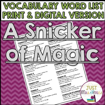 A Snicker of Magic Vocabulary Word List
