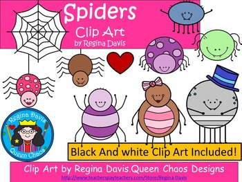 A+ Spiders Clip Art...Color And Black And White Included