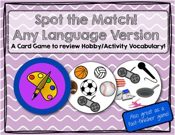Spot the Match game for Hobby / Activity Vocabulary: Works