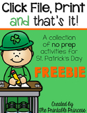 Click File, Print {and that's it!} St. Patricks Day FREE K