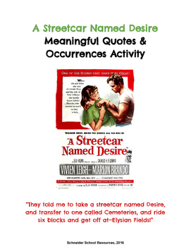 A Streetcar Named Desire Meaningful Quotes and Occurrences