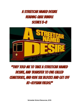 A Streetcar Named Desire Reading Quiz Bundle