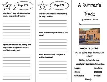 A Summer's Trade Trifold - Reading Street 5th Grade Unit 2 Week 4