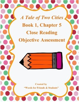 A Tale of Two Cities Objective Reading Assessment