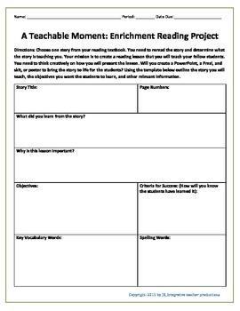 A Teachable Moment: Enrichment Reading Project