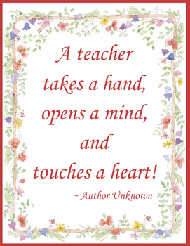 A Teacher Takes A Hand Quote Poster