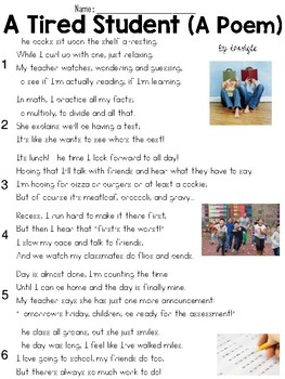 A Tired Student (Poem) Text & Question Set - FSA/PARCC-Sty