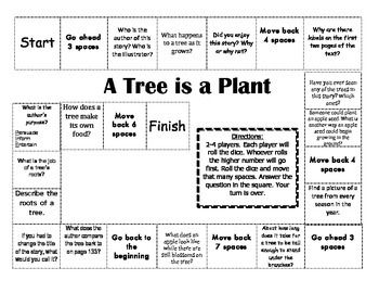 """""""A Tree is a Plant"""" Comprehension Game Board- Journeys sto"""