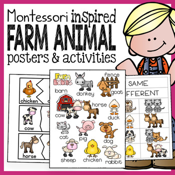 PreK and Kindergarten Farm Animal Bundle with Montessori I