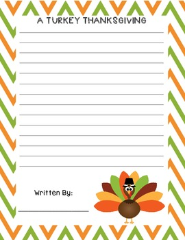 A Turkey Thanksgiving - Writing