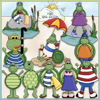 A Turtle's Life Clip Art - Dressed Up Turtles Clip Art - C