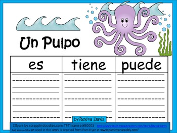 A+ Un Pulpo...Three Spanish Graphic Organizers