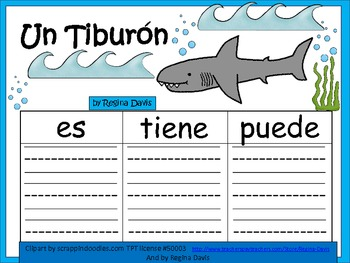 A+ Un Tiburon...Three Spanish Graphic Organizers