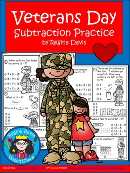A+  Free...Veterans Day: Subtraction Practice