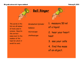A WHOLE Year of Science Bell Ringers