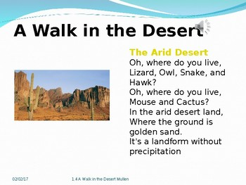 2.1.4 A Walk In the Desert, 2nd Grade Reading Street Unit