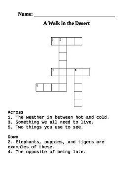 """A Walk in the Desert"" crossword puzzle"