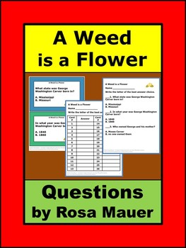 A Weed is a Flower Comprehension Task Cards and Worksheet