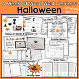 A Week Of Word Work Centers:  Halloween