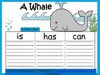 A+  Whale ... Three Graphic Organizers