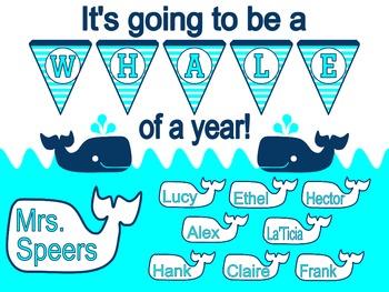 A Whale of a Year! Back to School Bulletin Board (Aqua)