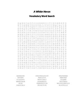 A White Heron Vocabulary Word Search - Jewett