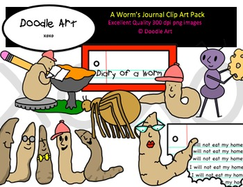 A Worm's Journal Clipart Pack