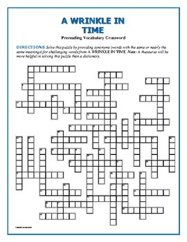 A Wrinkle in Time: Prereading Vocab Crossword—Great Prep.